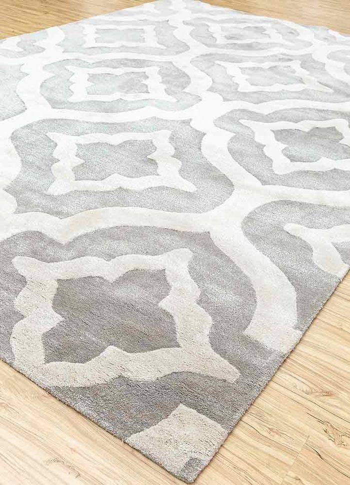 contour grey and black wool and viscose hand tufted Rug - FloorShot