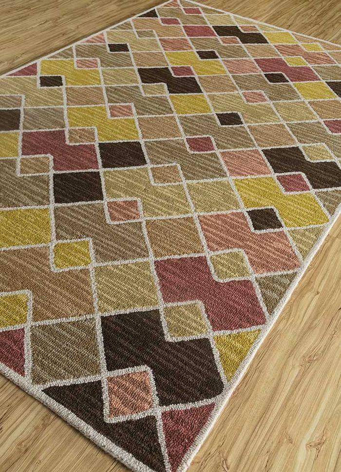traverse beige and brown wool hand tufted Rug - FloorShot