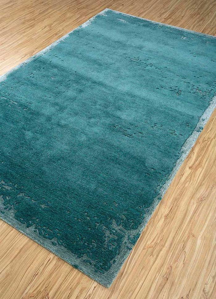 shudd blue wool and viscose hand tufted Rug - FloorShot