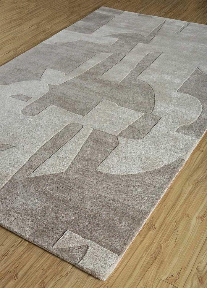 transcend ivory wool and viscose hand tufted Rug - FloorShot