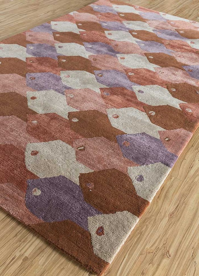 confetti red and orange wool and viscose hand tufted Rug - FloorShot
