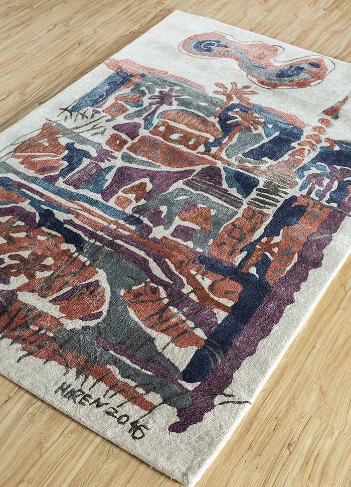 reminiscence ivory wool and viscose hand tufted Rug - FloorShot