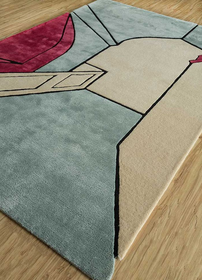 concoction blue wool and viscose hand tufted Rug - FloorShot