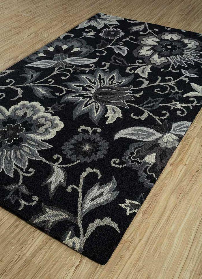 hacienda grey and black wool hand tufted Rug - FloorShot