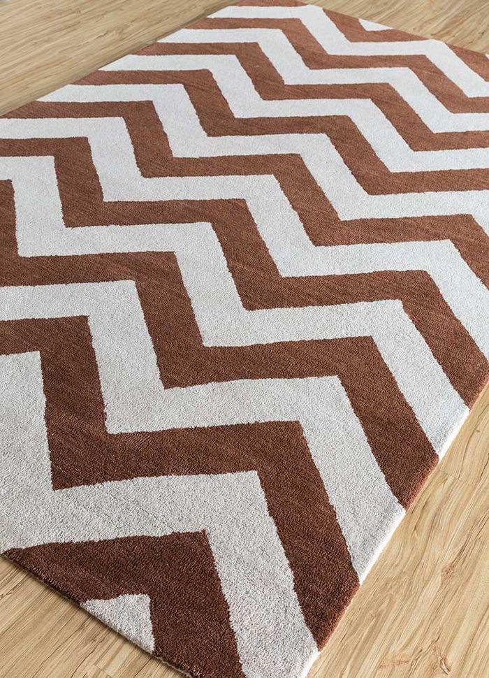 contour red and orange wool hand tufted Rug - FloorShot