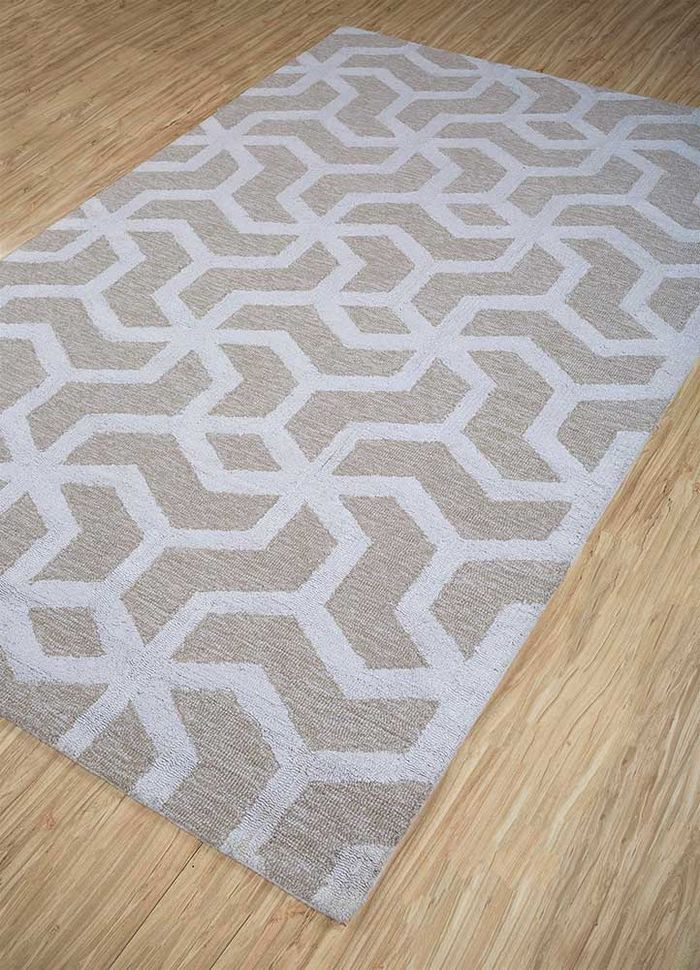 contour ivory wool and viscose hand tufted Rug - FloorShot
