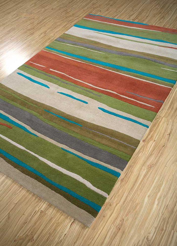 transcend green wool hand tufted Rug - FloorShot