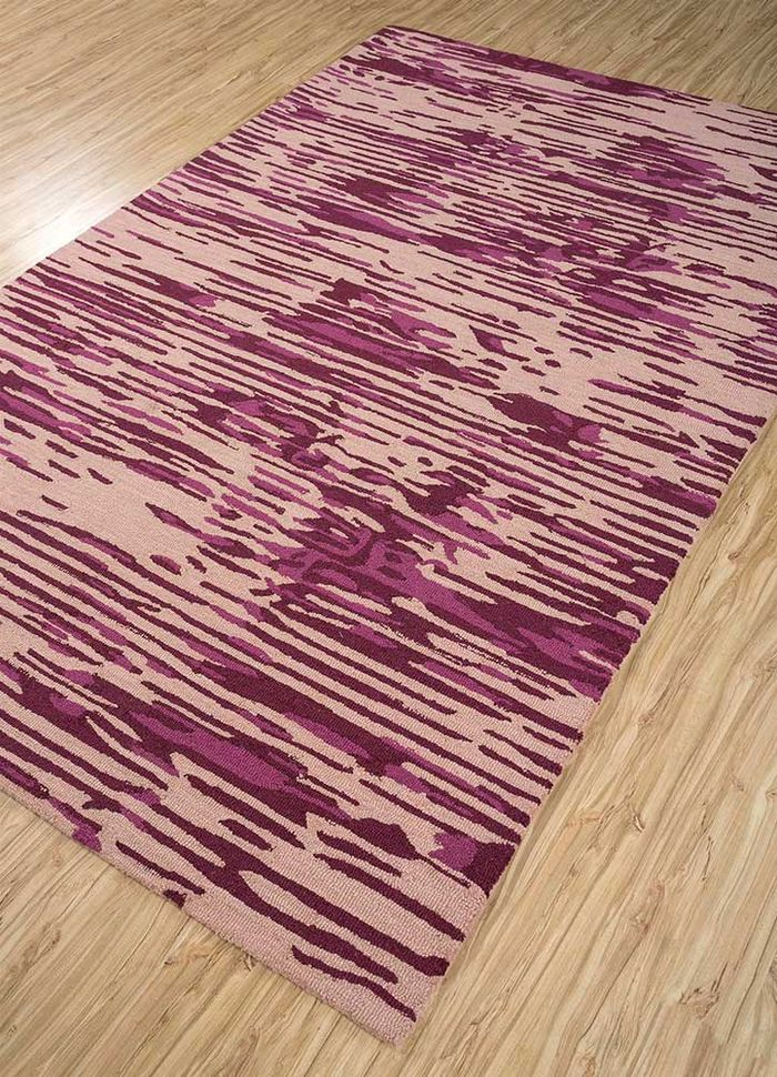 transcend pink and purple wool and viscose hand tufted Rug - FloorShot