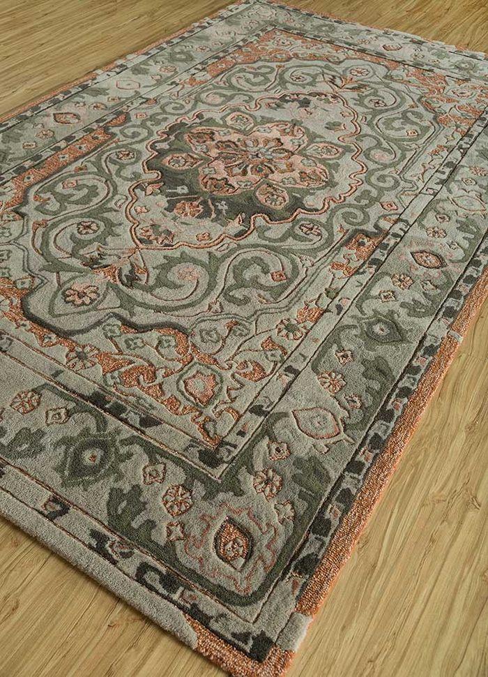 kilan grey and black wool and bamboo silk hand tufted Rug - FloorShot