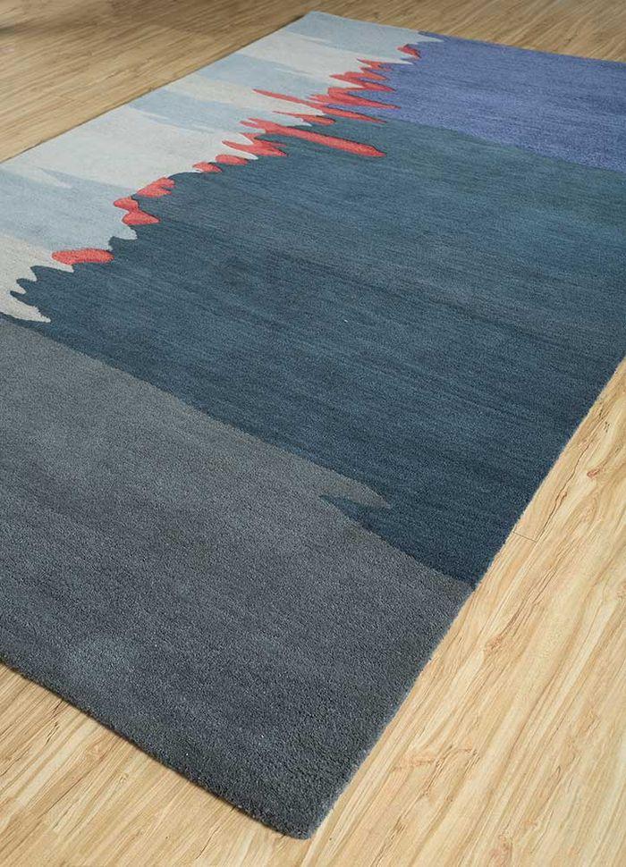 oscar blue wool and viscose hand tufted Rug - FloorShot