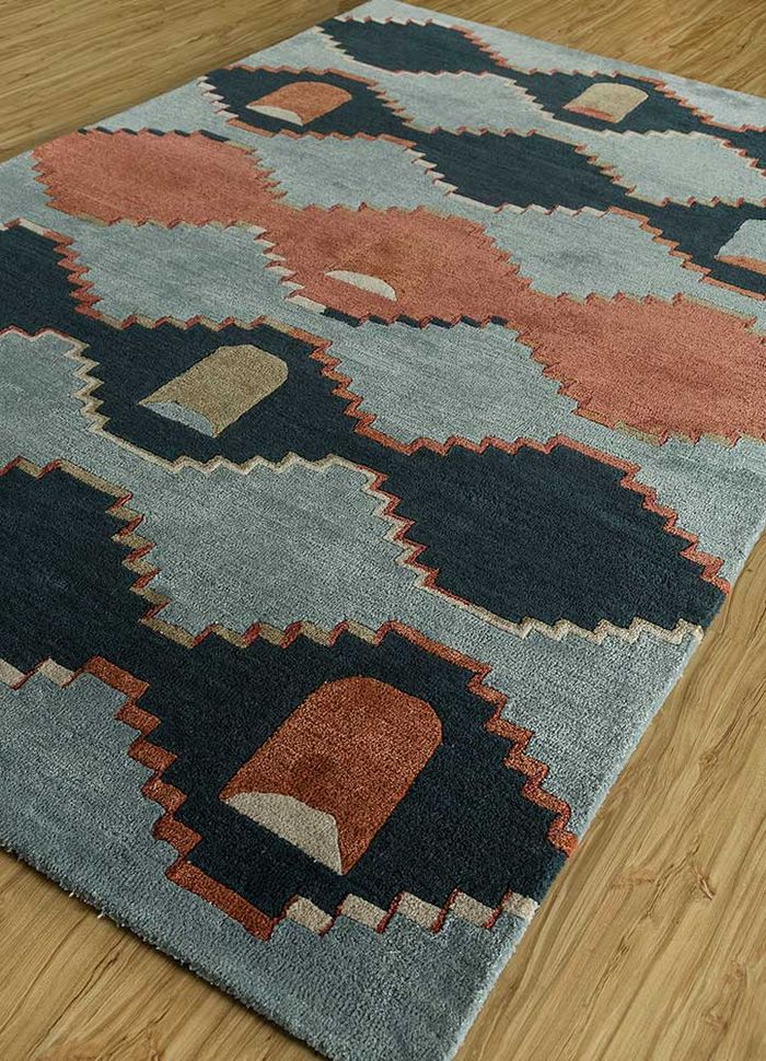 confetti blue wool and viscose hand tufted Rug - FloorShot