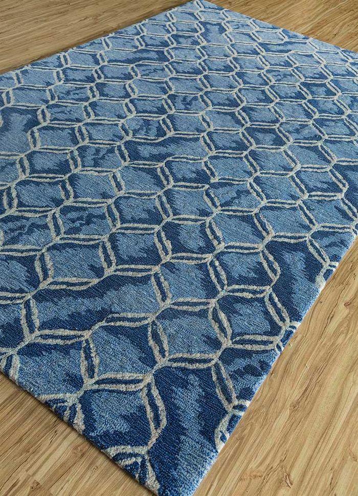 decade blue wool hand tufted Rug - FloorShot