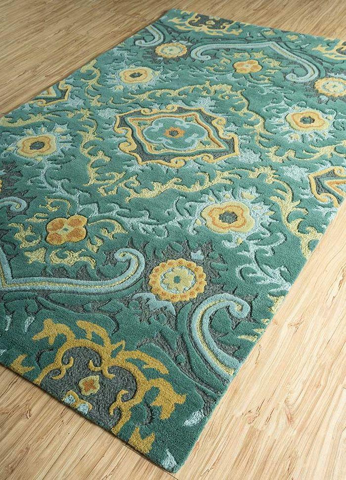 mythos green wool hand tufted Rug - FloorShot