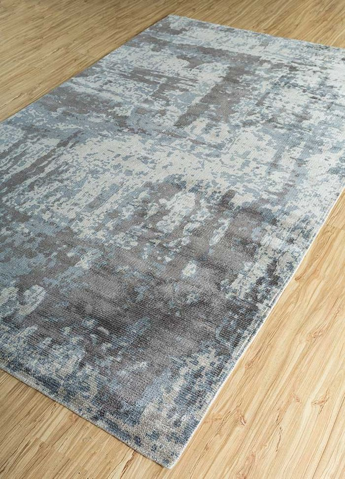 acar grey and black bamboo silk hand loom Rug - FloorShot