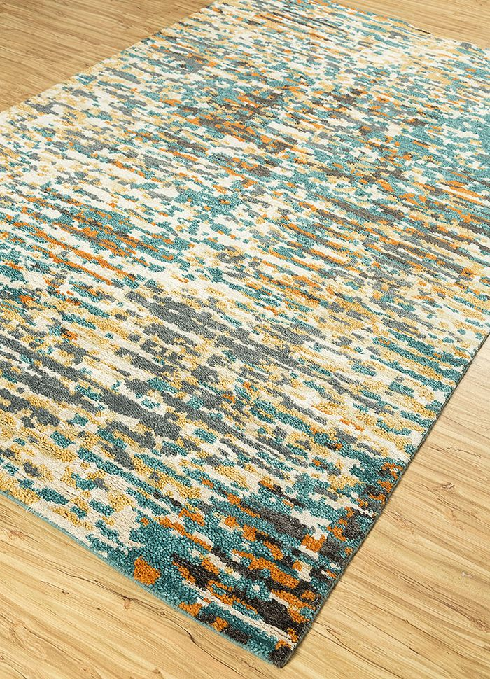 esme blue wool and bamboo silk hand knotted Rug - FloorShot