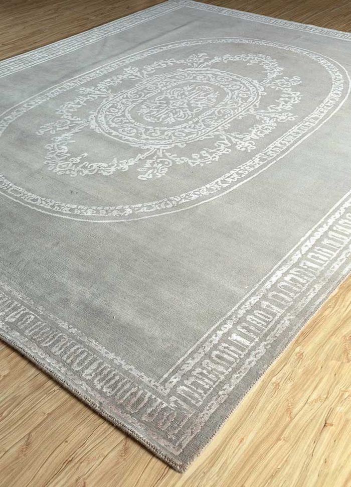 azalea beige and brown wool and bamboo silk hand knotted Rug - FloorShot