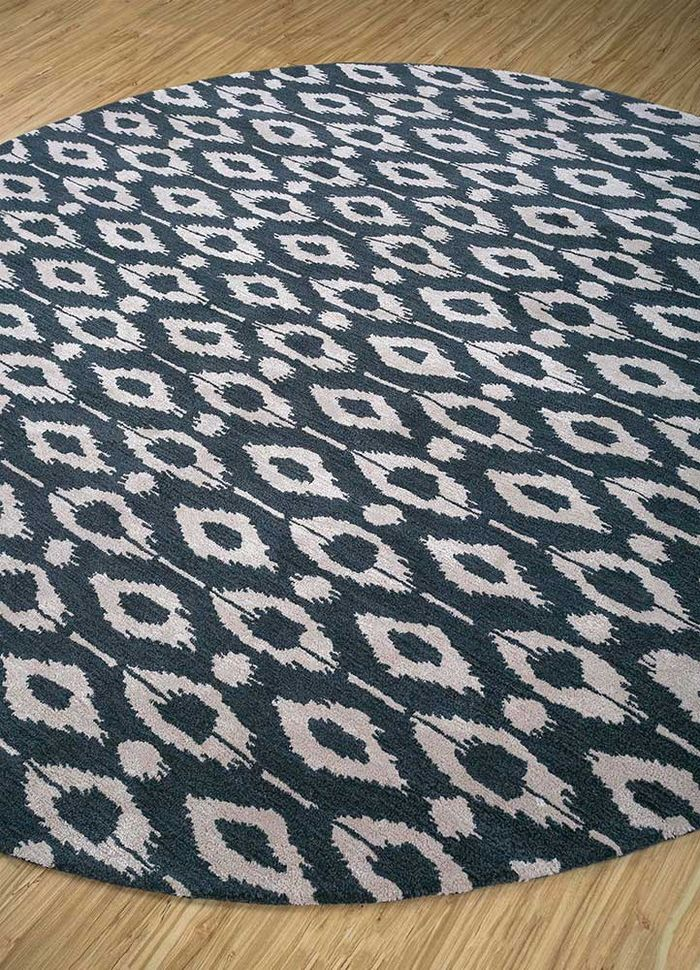 coastal blue wool and viscose hand tufted Rug - FloorShot