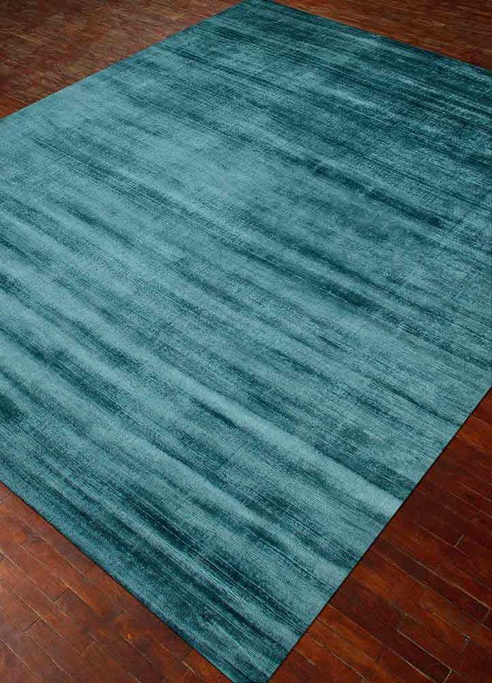basis blue viscose hand loom Rug - FloorShot