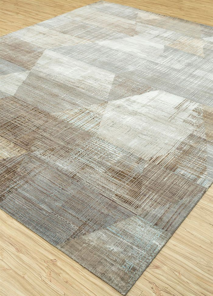 unstring by kavi grey and black wool and bamboo silk hand knotted Rug - FloorShot