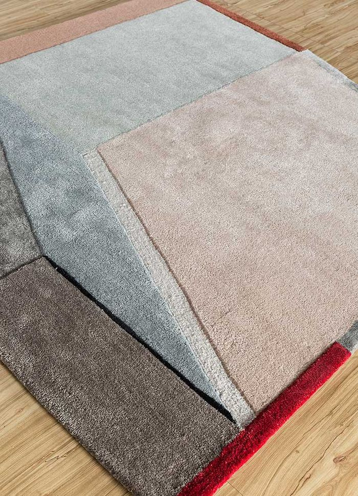 come around red and orange wool and viscose hand tufted Rug - FloorShot