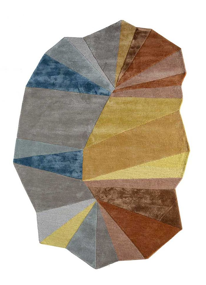 come around beige and brown wool and viscose hand tufted Rug - HeadShot