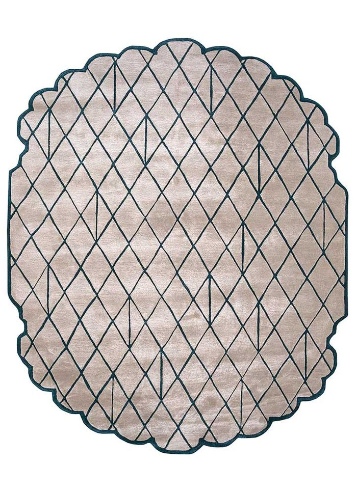 jaipur wunderkammer beige and brown wool and viscose hand tufted Rug - HeadShot
