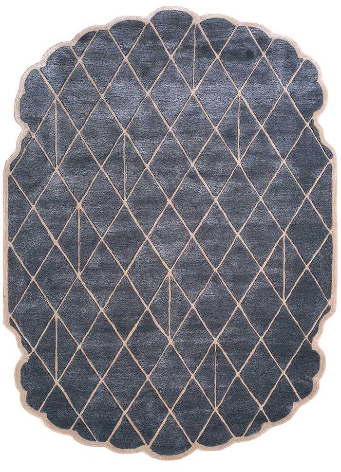jaipur wunderkammer grey and black wool and viscose hand tufted Rug - HeadShot