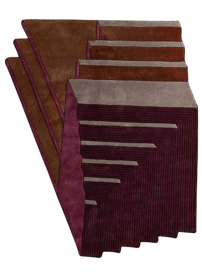 archetype pink and purple wool and viscose hand tufted Rug - HeadShot