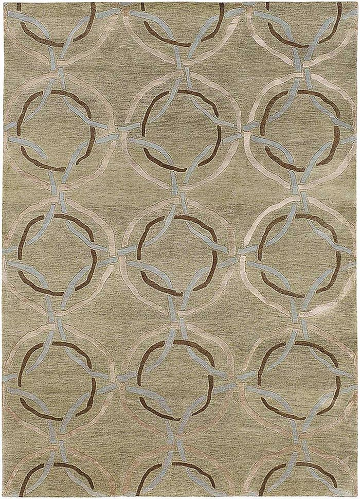 geode green wool and viscose hand knotted Rug - HeadShot