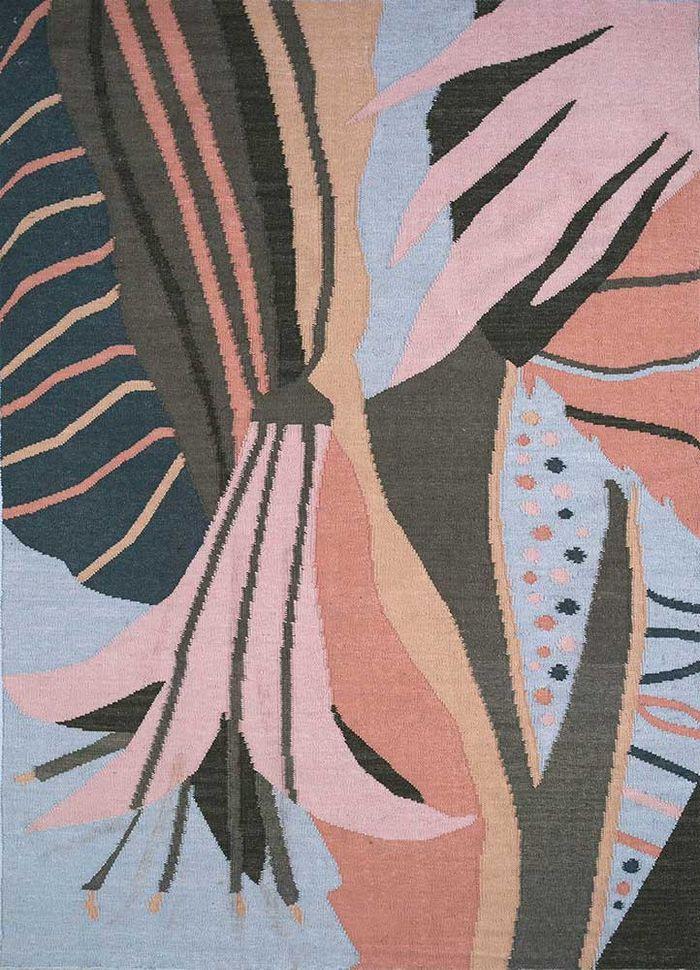 aprezo pink and purple wool flat weaves Rug - HeadShot