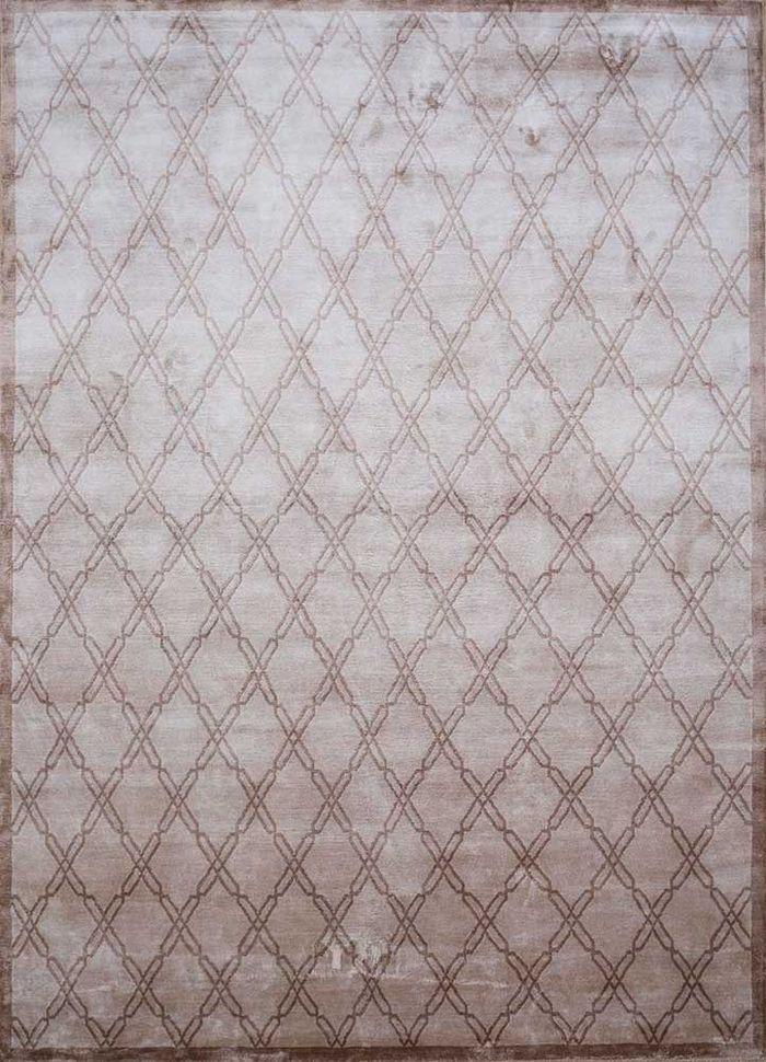 azalea beige and brown bamboo silk hand knotted Rug - HeadShot