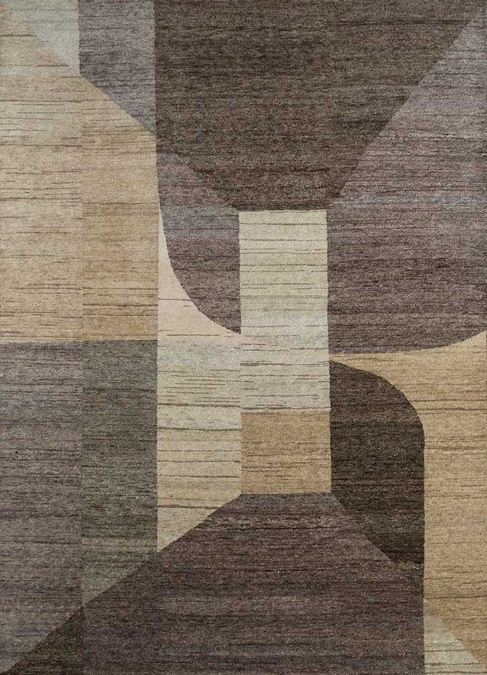 geode beige and brown wool hand knotted Rug - HeadShot