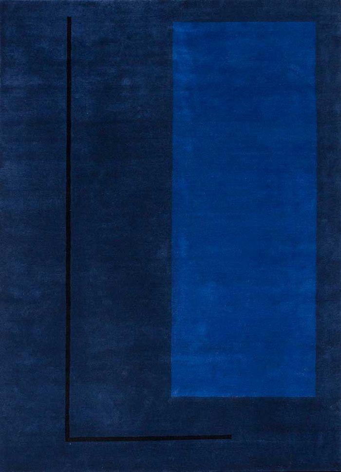 alfreda blue wool hand knotted Rug - HeadShot