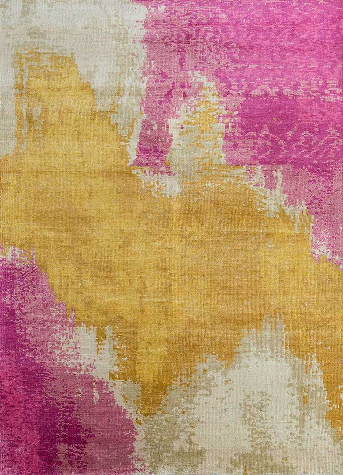 kibrast gold bamboo silk hand knotted Rug - HeadShot
