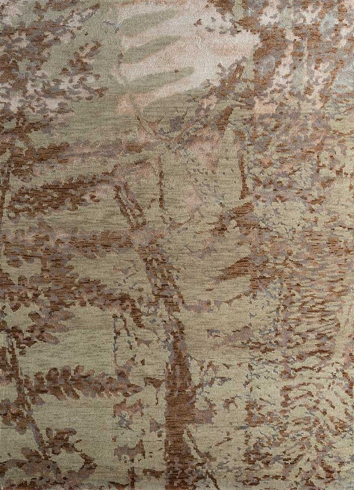 esme ivory wool and bamboo silk hand knotted Rug - HeadShot