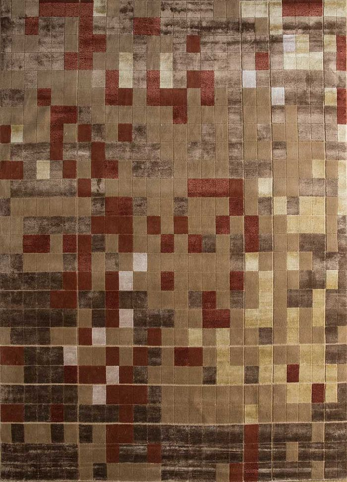geode beige and brown wool and bamboo silk hand knotted Rug - HeadShot