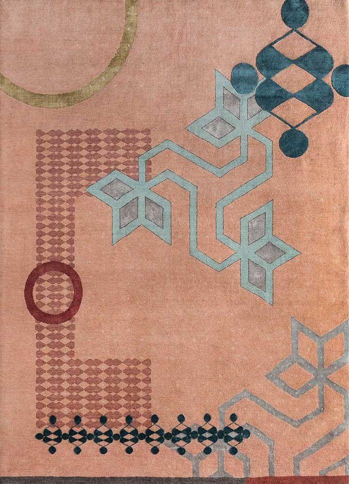 kolam red and orange wool and bamboo silk hand knotted Rug - HeadShot