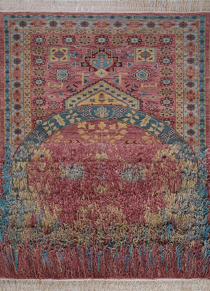 arfa red and orange wool hand knotted Rug - HeadShot