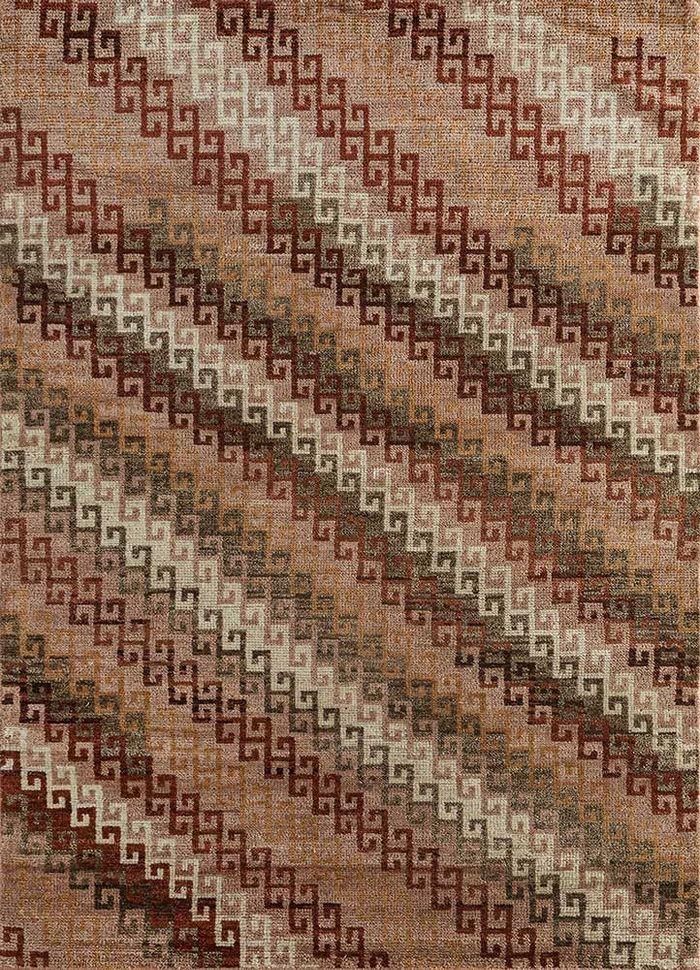 viscaya red and orange wool hand knotted Rug - HeadShot