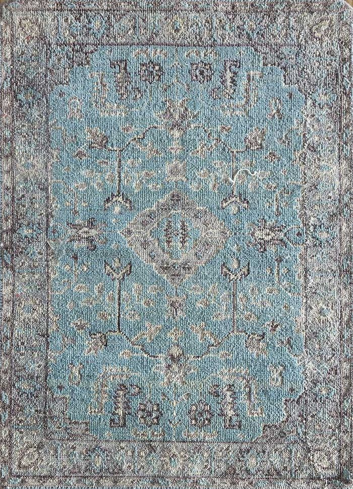 blithe blue wool hand knotted Rug - HeadShot