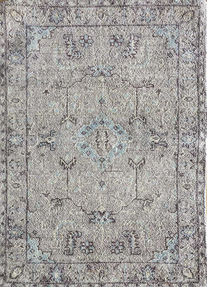 blithe grey and black wool hand knotted Rug - HeadShot
