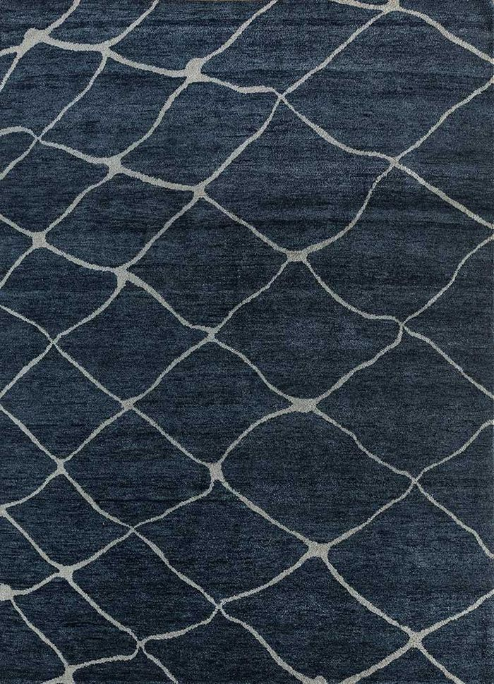 geode blue wool hand knotted Rug - HeadShot