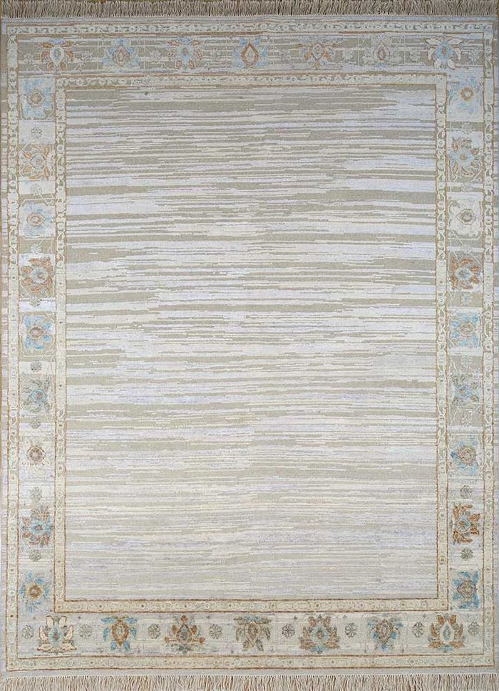 blithe ivory wool and silk hand knotted Rug - HeadShot