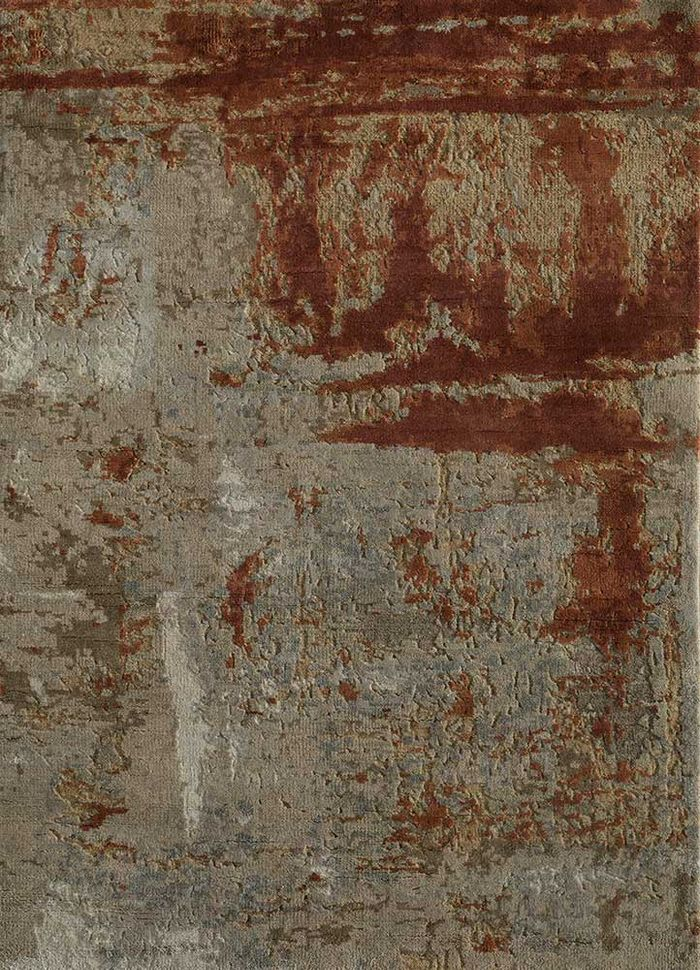 kibrast beige and brown wool and silk hand knotted Rug - HeadShot