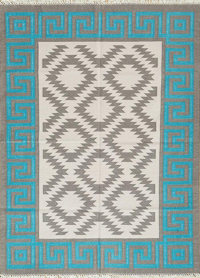 bedouin grey and black cotton flat weaves Rug - HeadShot