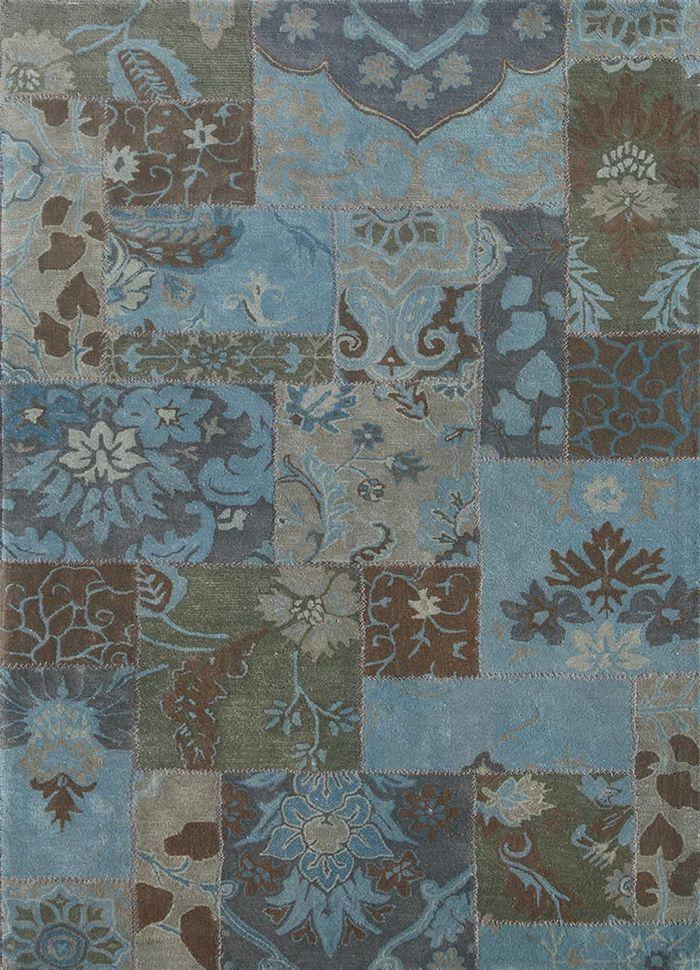 provenance blue wool patchwork Rug - HeadShot