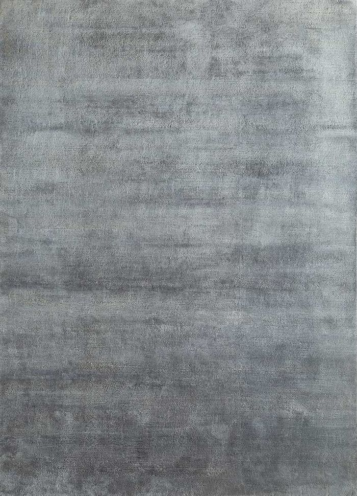 legion grey and black silk hand knotted Rug - HeadShot