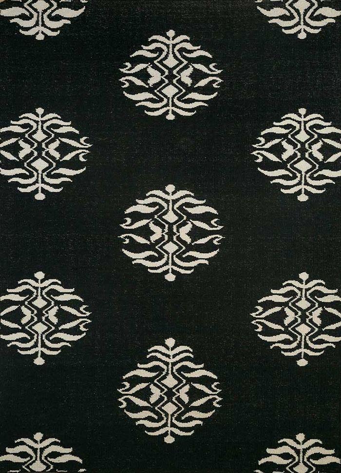 heritage grey and black wool flat weaves Rug - HeadShot