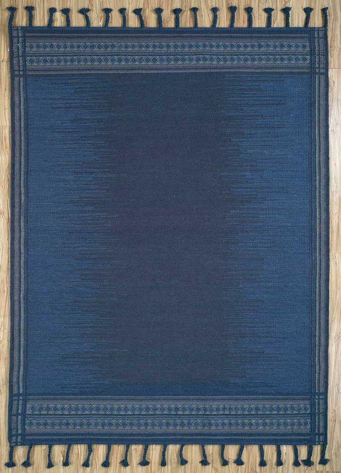 aprezo blue wool flat weaves Rug - HeadShot