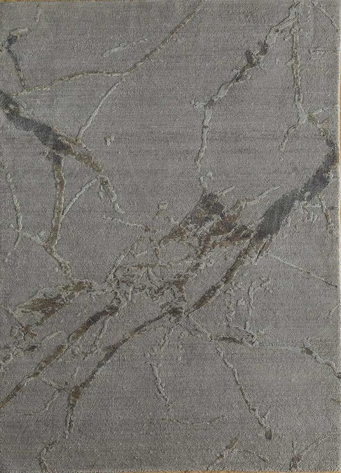 urban pause by kavi grey and black wool and silk hand knotted Rug - HeadShot